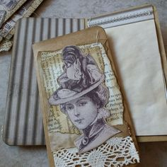 Vintage ladies and gents. Tags and notebooks. Handmade.