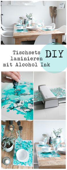 Tischsets mit Alcohol Ink gestalten und laminieren. Tischdeko in aqua Tönen.