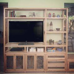 Biblioteca madera y chapa - estantes + puertas + cajones + baúl - www.sachamuebles.com www.facebook/SachaMuebles