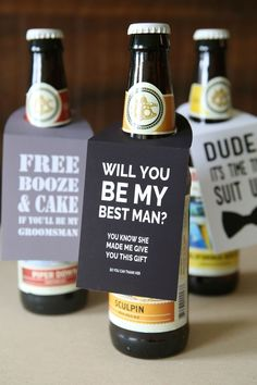Ask the guys to be in your wedding with this diy beer gift!