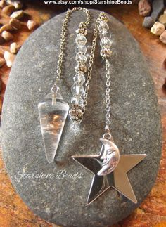 Quartz Crystal Moon & Star Pendulum by StarshineBeads on Etsy #pendulums #pagan #wicca #moon #crystals #divination #star #quartz #giftideas #uniquegifts