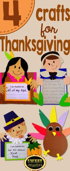 Thanksgiving crafts and activities - make a pilgrim man, woman, native american and turkey craft and or glyph.