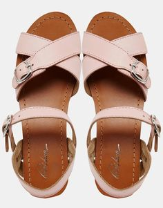 Image 4 of Park Lane Flatform Leather Cross Strap Sandals