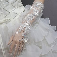 rhinestone wedding gloves | ... rhinestone full laciness long design bride wedding gloves formal dress