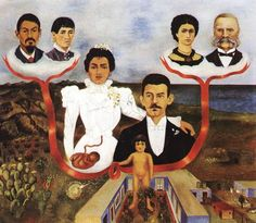 """Frida Kahlo: """"My Grandparents My Parents and I"""" (1936). During 1936, Diego and Kahlo raised money for the forces opposing Franco in the Spanish Civil War. They also worked to get asylum for Russian communist Leon Trotsky and his wife Natalia."""