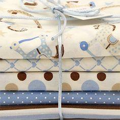 """Kit de tecidos """"Cavalinho de Pau"""" - azul e marrom"""