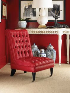 Trend: Tufted ~ red slipper chair