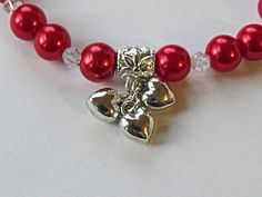 Hearts for you.  Red glass pearls swarovski by NammersCrafts