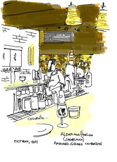 Alden and Harlow in Harvard Square, Cambridge Massachusetts,  (cafe sketch by Michael Cucurullo)
