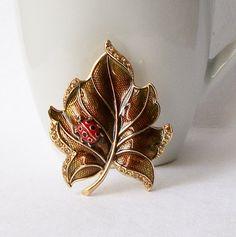 Vintage LC Ladybug Leaf Brooch by VintageSundries on Etsy