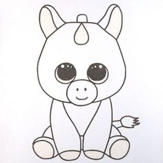 TY Unicorn glitter coloring for kids - Glitter art for kids - TY Sunset Unicorn glitter art and craft – best art activities for kids - Cute Cartoon Drawings, Easy Drawings For Kids, Disney Drawings, Drawing For Kids, Animal Drawings, Art For Kids, Drawing Disney, How To Draw Kids, Easter Drawings