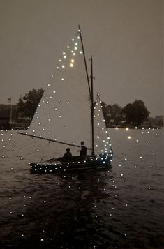 Pretty, pretty lights on a sailboat.