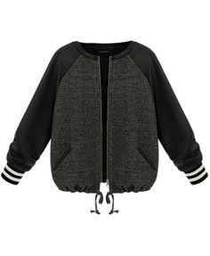 Zipper Front Raglan Sleeves Drawstring Jacket - Clothing