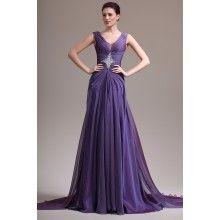 Grape V-neck Straps Beaded Ruched Skirt Long #Prom #Dress - $189.00