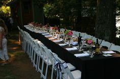 Harvest Table with Black linen, Classic white folding chairs. Folding Chairs, Black Linen, Classic White, Harvest, Table Settings, Table Decorations, Home Decor, Decoration Home, Room Decor
