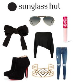 """""""Celebrate in Every Shade with Sunglass Hut: Contest Entry"""" by celineh1203 ❤ liked on Polyvore featuring Ray-Ban, Crea Concept, Christian Louboutin, Current/Elliott, Stella & Dot, ASOS and Lime Crime"""
