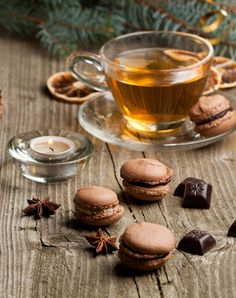 Tea, yummy chocolate & macarons