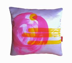 pink and yellow circle art cushion  Love everything on this website!