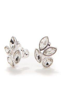 Napier  Silver-Tone Crystal Clip Button Earring