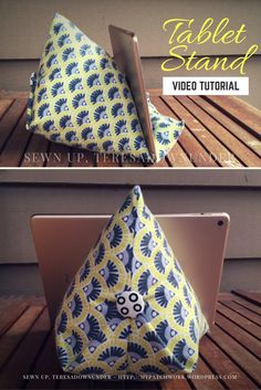 Video tutorial: tablet or iPad stand tutorial - Video tutorial: quick and easy tablet stand – iPad holder - Diy Ipad Stand, Tablet Stand, Sewing Hacks, Sewing Tutorials, Sewing Crafts, Support Ipad, Support Telephone, Iphone Stand, Book Holders