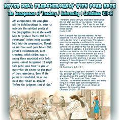 The Consequencesof Treachery/Referencing 1 Corinthians 5:11-13(Romans 14:10-12)(2 Corinthians 2:5-10)(Luke 3:8)
