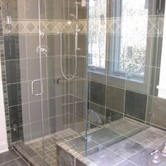 bathroom soft grey tile wall and flooring color bathroom showers ideas with glass door combine also rectangle shape glass window in delightful decoration