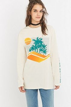 Urban Outfitters Long Sleeve California Ivory T-shirt - Urban Outfitters