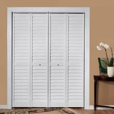 Louver White Composite Interior Bi Fold Closet Door