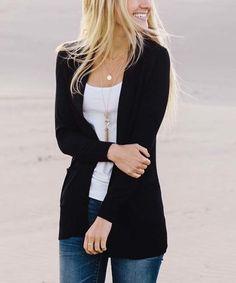 So Perla Black Pocket Cardigan | zulily