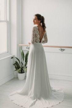 Posie Handmade Wedding Dresses, Elegant Wedding Dress, Beautiful Bridesmaid Dresses, Stunning Dresses, Alternative Wedding Dresses, Fit And Flare Skirt, Long Sleeve Wedding, Wedding Styles, Wedding Ideas