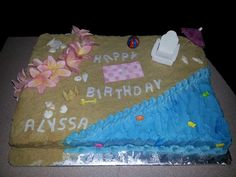 Beach Birthday Cake by SugarArt Cakes by Kassie