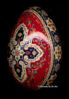 This one is amazing. I wonder if it's a chicken egg, or a goose or duck egg? LIKE the cross design
