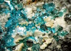 Sampleite. Copper Phosphorus Calcium: Oxidized zone of copper deposits in arid climates. In caves derived from copper sulfides and phosphate from bat guano. Chuquicamata, Antofagasta, Chile
