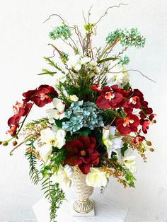 Burgundy, blue and cream floral arrangement for the staircase. Artificial Floral Arrangements, Faux Flower Arrangements, Table Arrangements, Faux Flowers, Silk Flowers, Floral Wedding, Wedding Flowers, Halloween Decorations, Christmas Decorations