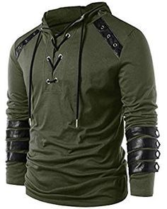 Men Lace Up Faux Leather Hoodie Fashion Cool Long Sleeve Hoodeddressll – dresslliy Cheap Hoodies, Cool Hoodies, Sweat Cool, Leather Hoodie, Style Masculin, Clothes For Sale, Mens Sweatshirts, Pulls, Leather And Lace