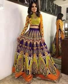 Unique patterned offbeat lehenga choli for this wedding season is being preferred over red. Choose a lehenga that makes everyone's hearts flutter. Multicolored lehenga to slay your bridal look this season. Pakistani Formal Dresses, Pakistani Wedding Outfits, Indian Bridal Outfits, Pakistani Bridal Wear, Indian Designer Outfits, Bridal Lehenga, Indian Dresses, Bridal Dresses, Mehendi Outfits