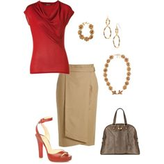 Polyvore website too expensive...looking for general style but cant wear open toed shoes at work...love the skirt and red shirt.