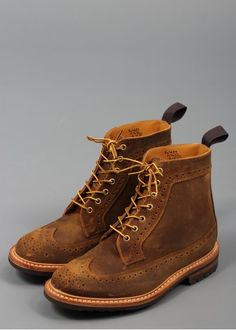 Trickers for Triads Cuba Wax Golosh Longwing Brogue Boots Brown Hiking Fashion, Distressed Leather, Brogues, Brown Boots, Timberland Boots, Hiking Boots, Combat Boots, Wax, Footwear
