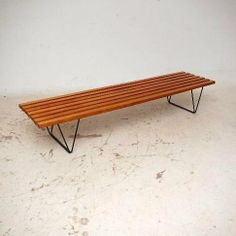 Mahogany and Enameled Metal 'Interplan' Bench for Hille, Mid Century Sofa, Mid Century Design, Vintage Designs, Retro Vintage, Robin Day, Take A Seat, Stores, Outdoor Furniture, Outdoor Decor
