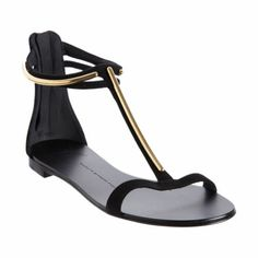 Find yourself a nice long dress to wear these with: Giuseppe Zanotti Metal T-strap Sandal #Barneys