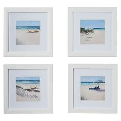 Defined by simple clean-lined frames with a crisp white finish, the Umbrella 4 Piece Framed Photographic Print Set adds a dash of simple sophistication to your walls. Set them in a cluster above your bed to bring a breezy touch to your beach-chic master suite, then add shell-embroidered pillows and cool-hued comforters to your bed spread to complete the look. For a simply stylish living room display, hang these in a row above a weathered wood console table, then arrange rope-wrapped decor…
