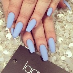 Baby blue nails. I love this shape idk why its like a tapered, square with the length of a stiletto.