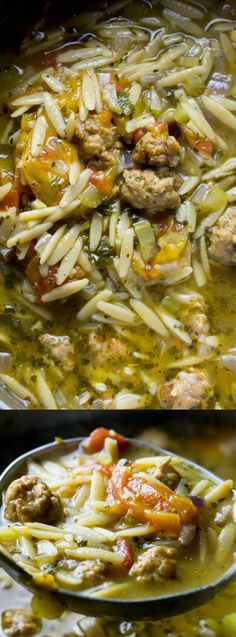 Italian Sausage Tomato Orzo Soup from Amanda's Cookin' is hearty, HOT, and totally delicious on a cold winter night!!!