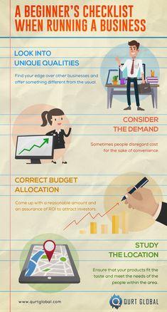 A Beginner's Checklist When Running a Business - Qurt Global Digital Marketing, Email Marketing, Business Look, Budgeting, Congratulations, Career, Ebooks, Finding Yourself, Running