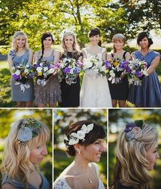 Denim blues wedding mixed bridesmaids dressings by mandy