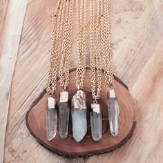 Céladonite Quartz Point Necklace / collier de pierre par EwelinaPas