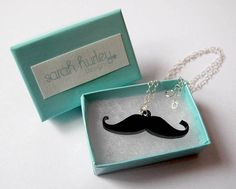 Moustache Acrylic Laser Cut Necklace by Sarah Hurley Designs €21.08