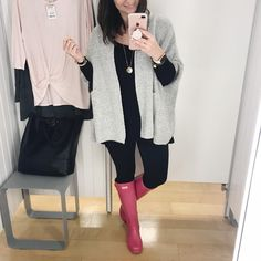 Rainy Day Outfit and Pink Hunter Boots