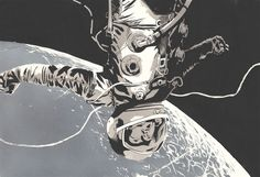 Astronaut illustrations by Señor Salme