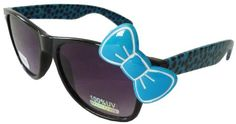 Sanrio Hello Kitty Cheetah Print Style Designer Inspired Wayfarer Sunglasses - Black/Blue with Blue Bow